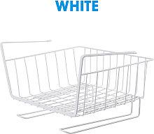 Cupboard Under Shelf Basket Metal Holder white