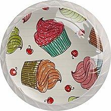 Cupcakes Seamless Pattern Drawer Knobs Pulls