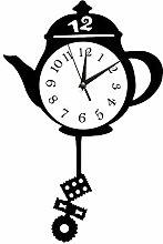 CUPWENH Creative Kitchen Clocks Teapot Pendulum