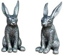 Curiosa Cabinet - Set of 2 Silver Rabbit Salt and
