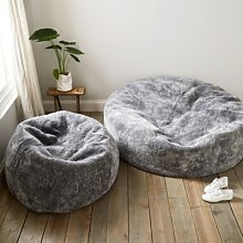 Curly Sheepskin Beanbag , Grey, One Size