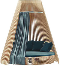 Curtain - / For Hut round sofa by Ethimo Blue/Green