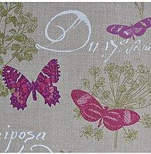 Curtain Fabric Butterfly Script Mauve Purple