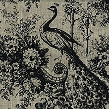 Curtain Fabric Designer French Linen Peacock Birds