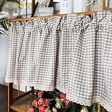curtain Gingham Kitchen With Lace Cotton Half