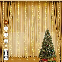 Curtain String Lights with 10 Hooks 3m x 3m,