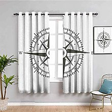 curtains for bedroom Black white retro compass 104