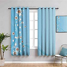 curtains for bedroom Blue flowers plants
