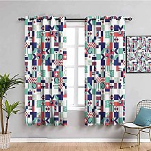 curtains for bedroom Blue plaid art 55 x 46 inch