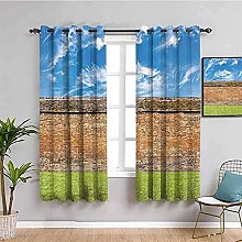 curtains for bedroom Blue sky brick wall grass 104
