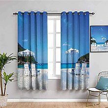 curtains for bedroom Blue sky chair mountain 104 x