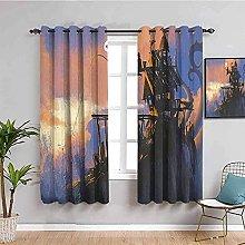 curtains for bedroom Cartoon anime trees hut 130 x