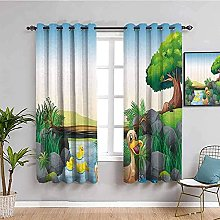 curtains for bedroom Cartoon big tree duck river