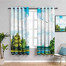 curtains for bedroom Cartoon green plants trees