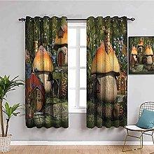 curtains for bedroom Cartoon mushroom hut trees 55