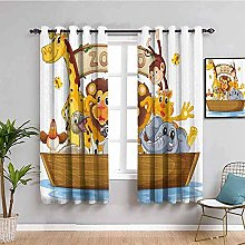curtains for bedroom Cartoon zoo lion monkey 104 x