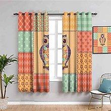 curtains for bedroom Color cartoon owl geometric