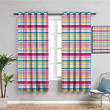 curtains for bedroom Color checkered line 76 x 54