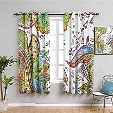 curtains for bedroom Green abstract plant graffiti