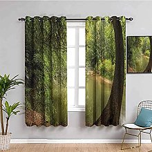 curtains for bedroom Green trees river landscape