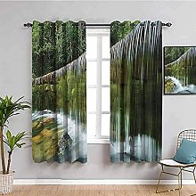curtains for bedroom Green waterfall trees river