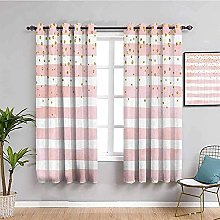 curtains for bedroom Pink stripes simple cute 104