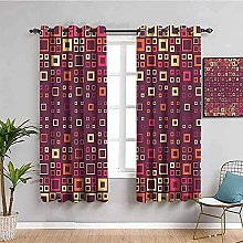 curtains for bedroom Red square geometric 63 x 54