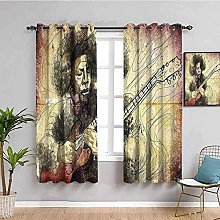 curtains for bedroom Retro music singer guitar