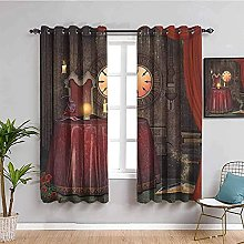 curtains for bedroom Retro red clock table 112 x