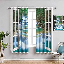 curtains for bedroom Windows waterfall trees