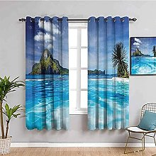 curtains for living room Blue sea mountains trees