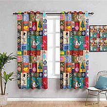 curtains for living room Colorful tree santa claus