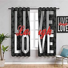 curtains for living room Gray letters love 76 x 54