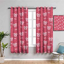curtains for living room Pink cute animal pig 55 x