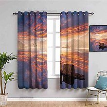 curtains for living room Red clouds lake sailboat