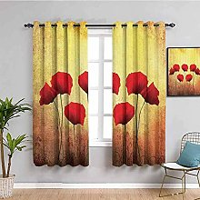 curtains for living room Vintage red plant flower