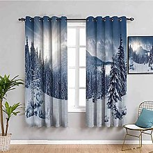 curtains for living room White snow trees