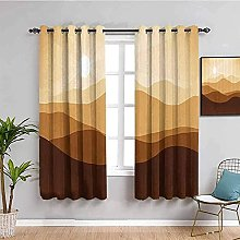 curtains for living room Yellow cartoon mountains
