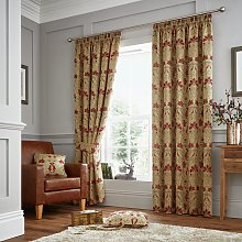 Curtina Burford Curtains - 168x183cm - Red and Gold