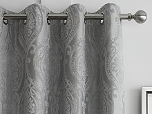 Curtina Chateau Silver Damask Eyelet Curtains and
