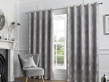 Curtina Feather Silver Eyelet Curtains and Cushions