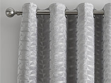 Curtina Kendal Silver Jacquard Eyelet Curtains and