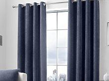 Curtina Kilbride Cord Navy Eyelet Curtains and