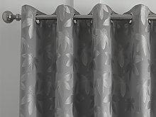 Curtina Romolo Silver Jacquard Eyelet Curtains and