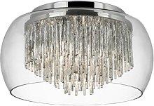 Curva glass ceiling light with aluminium spirals