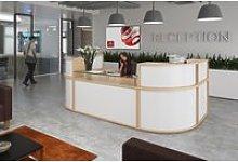 Curve Modular Reception Desk, Curved Glass Shelf,