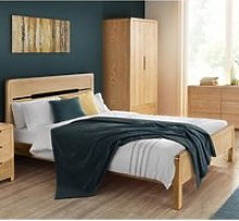 Curve Oak Wooden Bed Frame - 4ft6 Double
