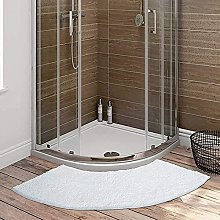 Curved Bathroom Rug for Circular Shower, White