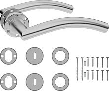 Curved Door Handle Set with BB Deadlock Stainless