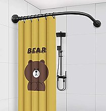 Curved Shower Curtain Rod Suction Cups L-Shaped No